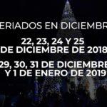 Ecuador: Feriado el 24 y el 31 de diciembre de 2018